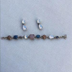 Loft Blue Opal Brown Earring Bracelet Set